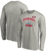 Wholesale Cheap Men's San Francisco 49ers NFL Heather Gray Super Bowl LIV Bound Heart & Soul Long Sleeve T-Shirt