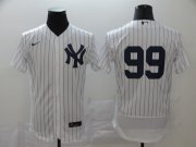 Wholesale Cheap New York Yankees #99 Aaron Judge Men's Nike White Navy Home 2020 Authentic Player MLB Jersey