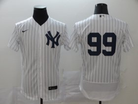 Wholesale Cheap New York Yankees #99 Aaron Judge Men\'s Nike White Navy Home 2020 Authentic Player MLB Jersey