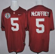 Wholesale Cheap Stanford Cardinal 5 Christian McCaffrey Red 2016 Rose Bowl Jersey