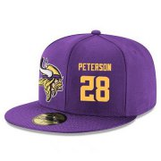 Wholesale Cheap Minnesota Vikings #28 Adrian Peterson Snapback Cap NFL Player Purple with Gold Number Stitched Hat