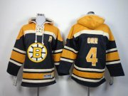 Wholesale Cheap Bruins #4 Bobby Orr Black Sawyer Hooded Sweatshirt Stitched Youth NHL Jersey