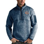 Wholesale Cheap Men's Chicago Bears Heather Navy Antigua Fortune Quarter-Zip Pullover Jacket