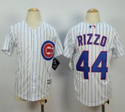 Wholesale Cheap Cubs #44 Anthony Rizzo White(Blue Strip) Cool Base Stitched Youth MLB Jersey