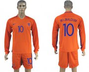 Wholesale Cheap Holland #10 Wijnaldum Home Long Sleeves Soccer Country Jersey