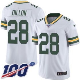 Wholesale Cheap Nike Packers #28 AJ Dillon White Youth Stitched NFL 100th Season Vapor Untouchable Limited Jersey