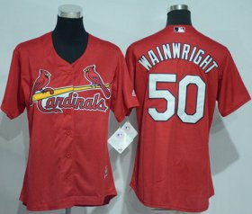 Wholesale Cheap Cardinals #50 Adam Wainwright Red Women\'s Alternate Stitched MLB Jersey