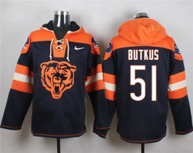 Wholesale Cheap Nike Bears #51 Dick Butkus Navy Blue Player Pullover NFL Hoodie