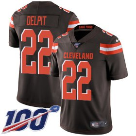 Wholesale Cheap Nike Browns #22 Grant Delpit Brown Team Color Men\'s Stitched NFL 100th Season Vapor Untouchable Limited Jersey