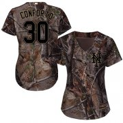 Wholesale Cheap Mets #30 Michael Conforto Camo Realtree Collection Cool Base Women's Stitched MLB Jersey