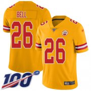 Wholesale Cheap Nike Chiefs #26 Le'Veon Bell Gold Men's Stitched NFL Limited Inverted Legend 100th Season Jersey
