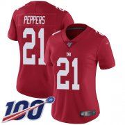 Wholesale Cheap Nike Giants #21 Jabrill Peppers Red Alternate Women's Stitched NFL 100th Season Vapor Limited Jersey