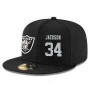 Wholesale Cheap Oakland Raiders #34 Bo Jackson Snapback Cap NFL Player Black with Silver Number Stitched Hat