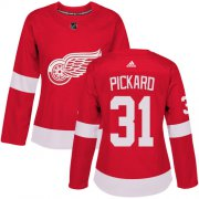 Wholesale Cheap Adidas Red Wings #31 Calvin Pickard Red Home Authentic Women's Stitched NHL Jersey