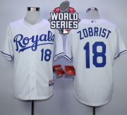 Wholesale Cheap Royals #18 Ben Zobrist White Cool Base W/2015 World Series Patch Stitched MLB Jersey