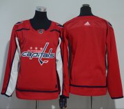 Wholesale Cheap Adidas Capitals Blank Red Home Authentic Women's Stitched NHL Jersey