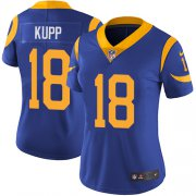 Wholesale Cheap Nike Rams #18 Cooper Kupp Royal Blue Alternate Women's Stitched NFL Vapor Untouchable Limited Jersey
