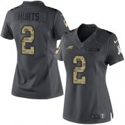 Wholesale Cheap Nike Eagles #2 Jalen Hurts Black Women's Stitched NFL Limited 2016 Salute to Service Jersey