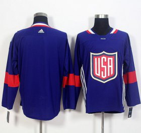 Wholesale Cheap Team USA Blank Navy Blue 2016 World Cup Stitched NHL Jersey