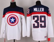 Wholesale Cheap Olympic Team USA #39 Ryan Miller White Captain America Fashion Stitched NHL Jersey