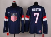 Wholesale Cheap 2014 Olympic Team USA #7 Paul Martin Navy Blue Stitched NHL Jersey