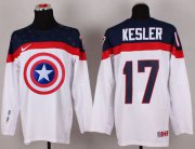 Wholesale Cheap Olympic Team USA #17 Ryan Kesler White Captain America Fashion Stitched NHL Jersey