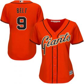 Wholesale Cheap Giants #9 Brandon Belt Orange Alternate Women\'s Stitched MLB Jersey