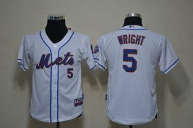Wholesale Cheap Mets #5 David Wright White Cool Base Stitched Youth MLB Jersey
