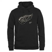 Wholesale Cheap Men's Detroit Red Wings Black Rink Warrior Pullover Hoodie
