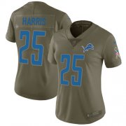 Wholesale Cheap Nike Lions #25 Will Harris Olive Women's Stitched NFL Limited 2017 Salute to Service Jersey