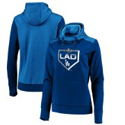Wholesale Cheap Los Angeles Dodgers Majestic Women's 2019 Postseason Dugout Authentic Pullover Hoodie Royal