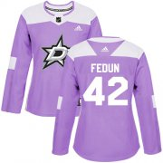 Cheap Adidas Stars #42 Taylor Fedun Purple Authentic Fights Cancer Women's Stitched NHL Jersey