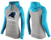 Wholesale Cheap Women's Nike Carolina Panthers Performance Hoodie Grey & Light Blue_1