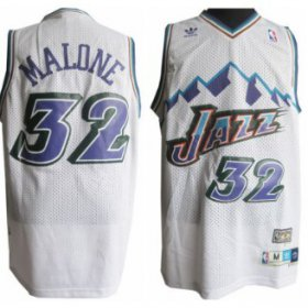 Wholesale Cheap Utah Jazz #32 Karl Malone Mountain White Hardwood Classics Soul Swingman Throwback Jersey