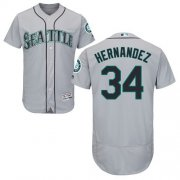 Wholesale Cheap Mariners #34 Felix Hernandez Grey Flexbase Authentic Collection Stitched MLB Jersey