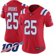 Wholesale Cheap Nike Patriots #25 Terrence Brooks Red Alternate Women's Stitched NFL 100th Season Vapor Limited Jersey