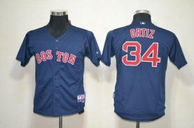 Wholesale Cheap Red Sox #34 David Ortiz Dark Blue Cool Base Stitched Youth MLB Jersey