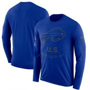 Wholesale Cheap Men's Buffalo Bills Nike Royal Salute to Service Sideline Legend Performance Long Sleeve T-Shirt