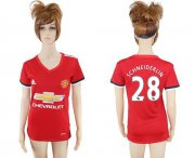 Wholesale Cheap Women's Manchester United #28 Schneiderlin Red Home Soccer Club Jersey