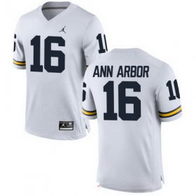 Wholesale Cheap Men\'s Michigan Wolverines #16 Ann Arbor White Stitched College Football Brand Jordan NCAA Jersey