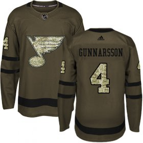Wholesale Cheap Adidas Blues #4 Carl Gunnarsson Green Salute to Service Stitched NHL Jersey