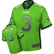 Wholesale Cheap Nike Seahawks #3 Russell Wilson Green Men's Stitched NFL Elite Drift Fashion Jersey