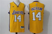 Wholesale Cheap Men's Los Angeles Lakers #14 White Revolution Yellow 30 Swingman Basketball Jersey