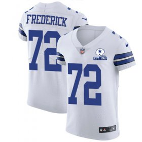 Wholesale Cheap Nike Cowboys #72 Travis Frederick White Men\'s Stitched With Established In 1960 Patch NFL New Elite Jersey