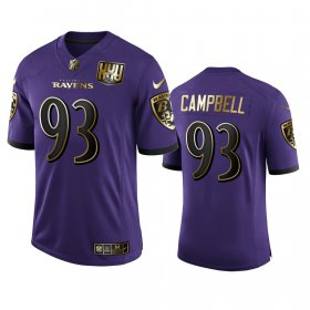 Wholesale Cheap Baltimore Ravens #93 Calais Campbell Men\'s Nike Purple Team 25th Season Golden Limited NFL Jersey