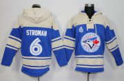 Wholesale Cheap Blue Jays #6 Marcus Stroman Blue Sawyer Hooded Sweatshirt MLB Hoodie