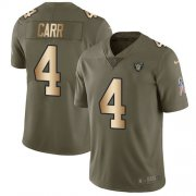 Wholesale Cheap Nike Raiders #4 Derek Carr Olive/Gold Men's Stitched NFL Limited 2017 Salute To Service Jersey