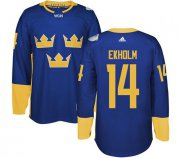 Wholesale Cheap Team Sweden #14 Mattias Ekholm Blue 2016 World Cup Stitched NHL Jersey