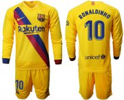Wholesale Cheap Barcelona #10 Ronaldinho Away Long Sleeves Soccer Club Jersey