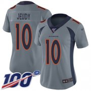 Wholesale Cheap Nike Broncos #10 Jerry Jeudy Gray Women's Stitched NFL Limited Inverted Legend 100th Season Jersey